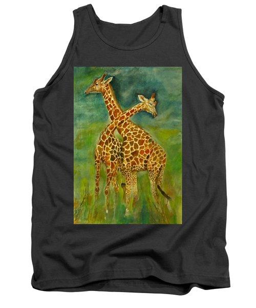Lovely Giraffe . Tank Top by Khalid Saeed