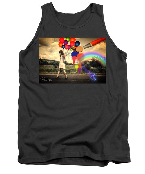 Girl Walking With Balloons #2 Tank Top