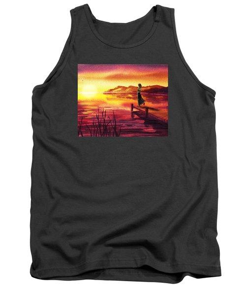 Tank Top featuring the painting Girl Watching Sunset At The Lake by Irina Sztukowski