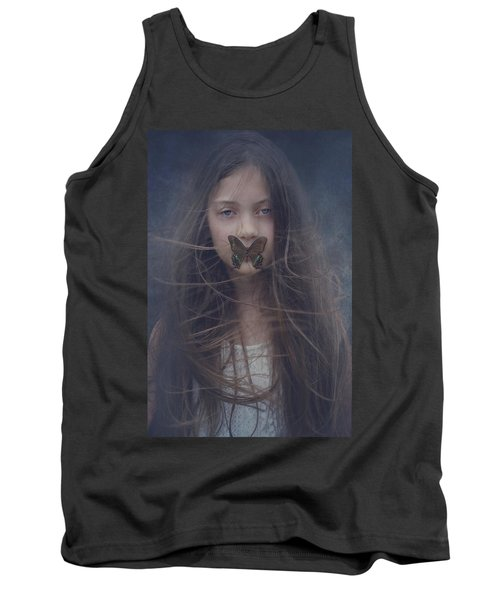 Girl With Butterfly Over Lips Tank Top