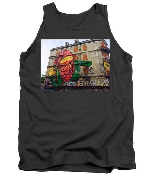 Tank Top featuring the painting Globe Building Art Painting by Sheila Mcdonald