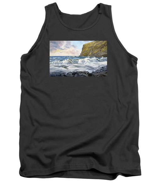 Tank Top featuring the painting Glowing Sky At Pencannow Point by Lawrence Dyer