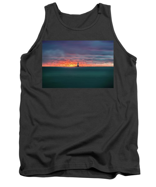 Glowing Sunset On Lake With Lighthouse Tank Top