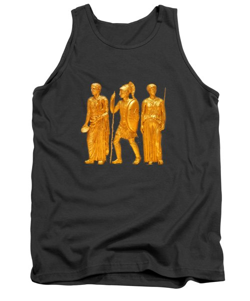 Gold Covered Greek Figures Tank Top