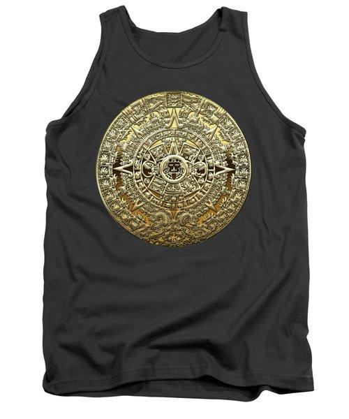 Gold Mayan-aztec Calendar On Brown Leather Tank Top
