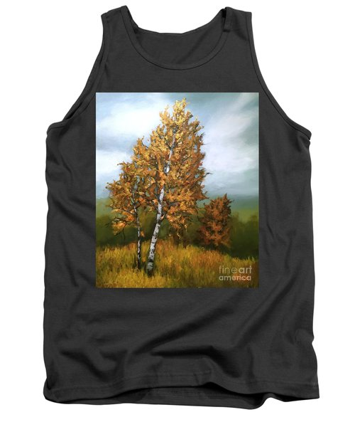 Golden Birch Tank Top by Inese Poga
