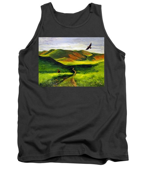 Golden Eagles On Green Grassland Tank Top by Suzanne McKee
