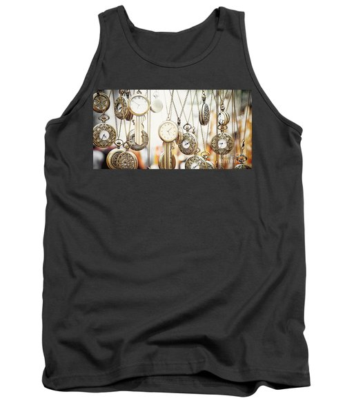Golden Faces Of Time Tank Top