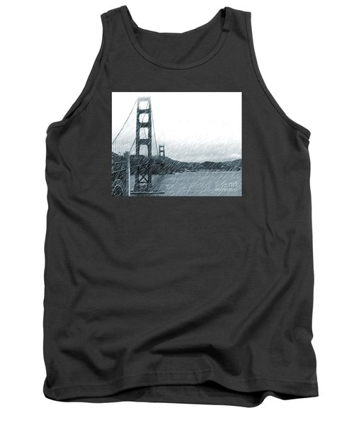 Tank Top featuring the photograph Golden Gate Blue Rain by Cheryl Del Toro