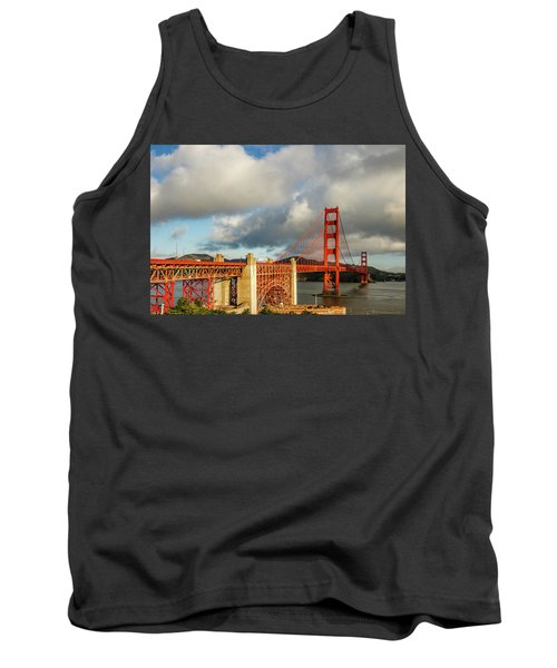 Tank Top featuring the photograph Golden Gate From Above Ft. Point by Bill Gallagher