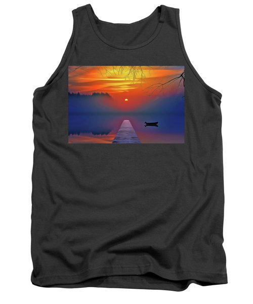Tank Top featuring the painting Golden Lake by Harry Warrick