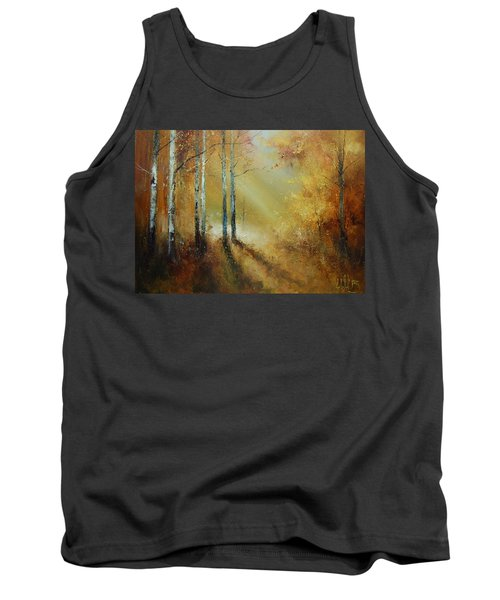 Golden Light In Autumn Woods Tank Top