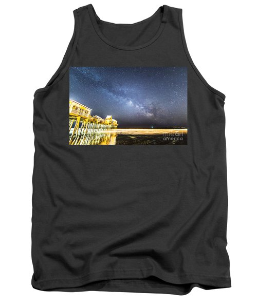 Golden Pier Under The Milky Way Version 1.0 Tank Top by Patrick Fennell
