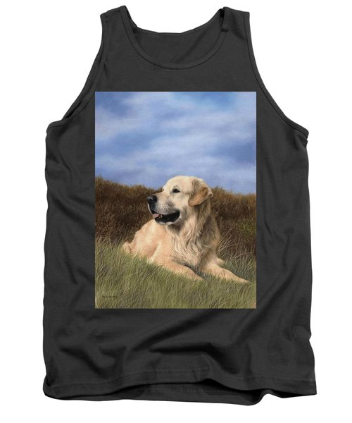 Golden Retriever Painting Tank Top by Rachel Stribbling