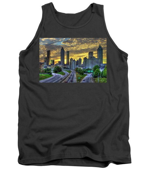 Golden Skies Atlanta Downtown Sunset Cityscape Art Tank Top