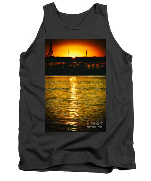 Tank Top featuring the photograph Golden Sunset Behind Bridge by Mariola Bitner