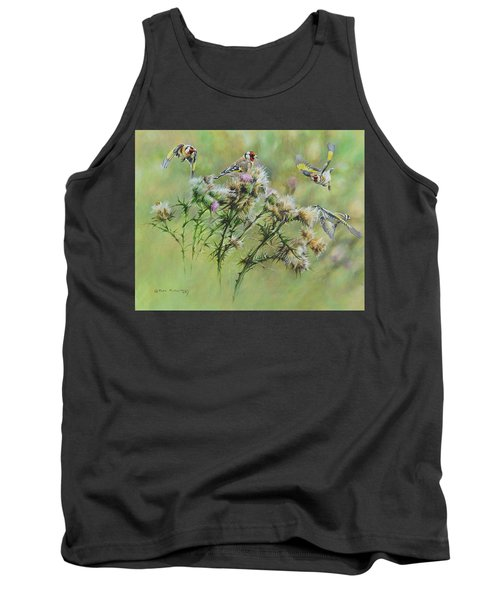 Goldfinches On Thistle Tank Top