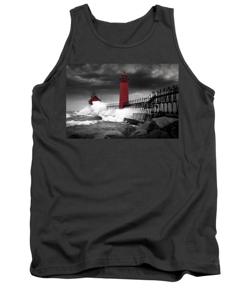 Grand Haven Lighthouse In A Rain Storm Tank Top