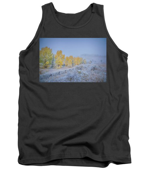 Grand Teton Fall Snowfall Scene Tank Top