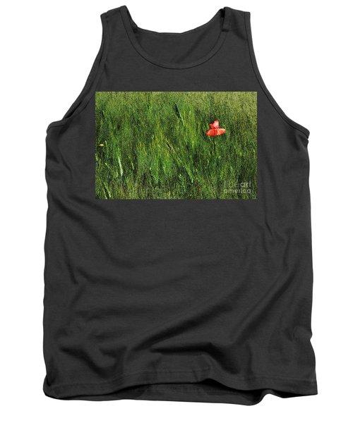 Grassland And Red Poppy Flower 2 Tank Top by Jean Bernard Roussilhe