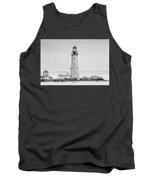 Tank Top featuring the photograph Graves Lighthouse- Boston, Ma - Black And White by Peter Ciro