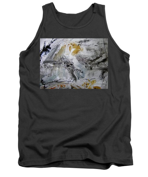 Tank Top featuring the painting Gray And Gold by Nancy Kane Chapman