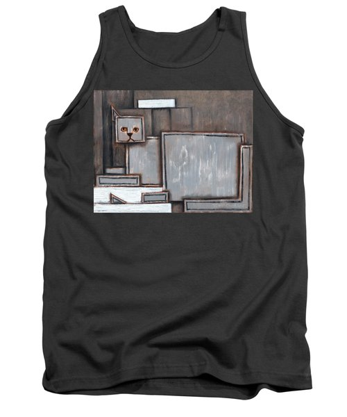 Tommervik Gray And White Cat Art Print Tank Top