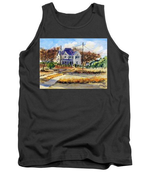 Tank Top featuring the painting Grayson County Farmhouse by Ron Stephens