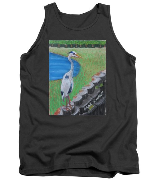 Great Blue Heron In Front Of Orchard Tank Top