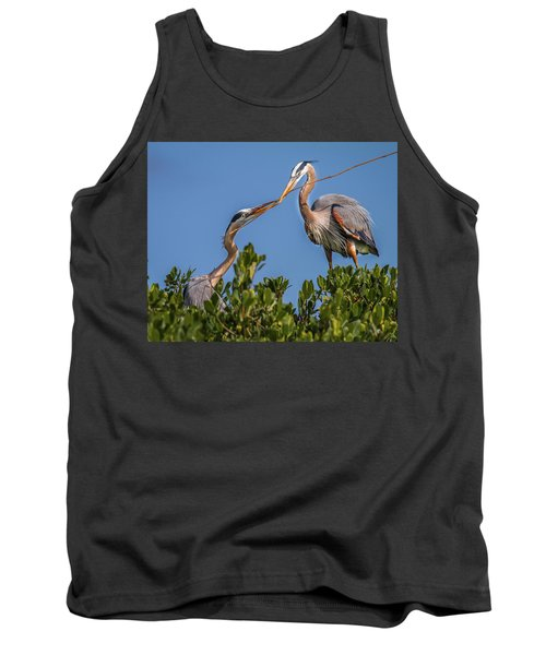 Great Blue Heron Nest Building Tank Top