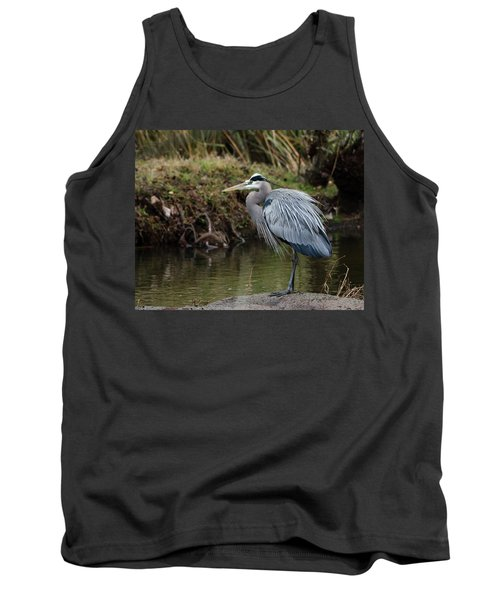 Tank Top featuring the photograph Great Blue Heron On The Watch by George Randy Bass