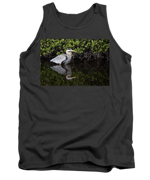 Great Blue Heron With Reflection Tank Top