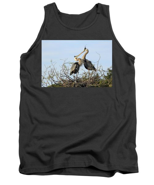 Great-blue Herons On Nest At The Venice Rookery, Florida Tank Top
