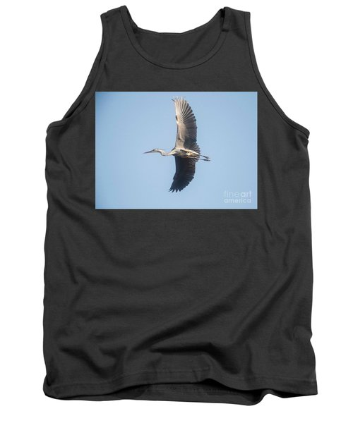 Tank Top featuring the photograph Great Blue On Final by David Bearden