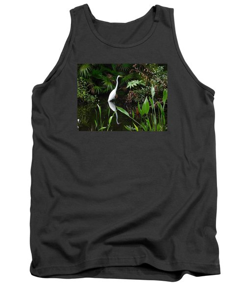 Great Egret In Pond Tank Top by Melinda Saminski
