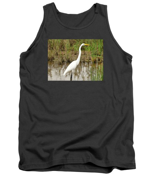 Tank Top featuring the painting Great Egret by Maciek Froncisz