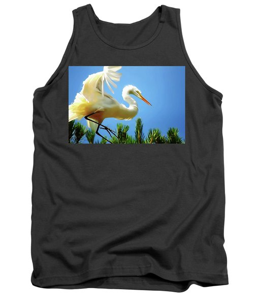 Great Egret Preparing For Treetop Landing 3 - Digitalart Tank Top