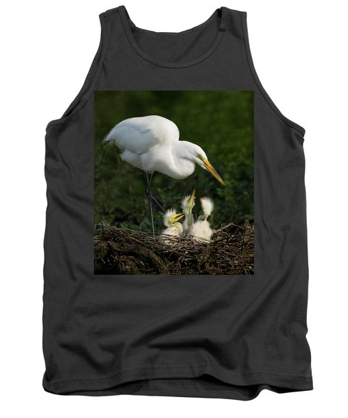 Great Egret With Chicks Tank Top