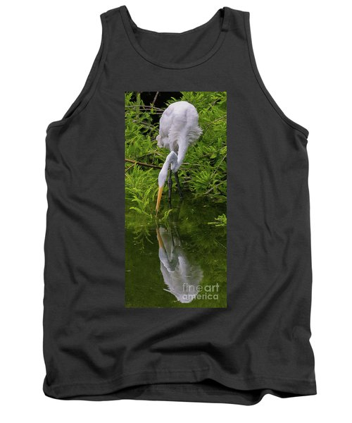 Great Egret With Its Reflection Tank Top