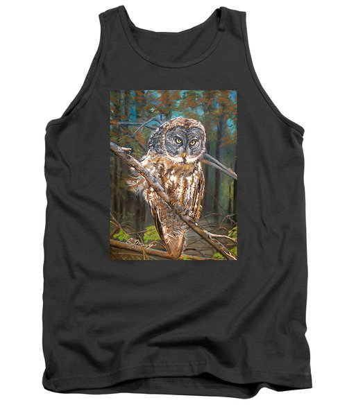 Tank Top featuring the painting Great Grey Owl 2 by Sharon Duguay