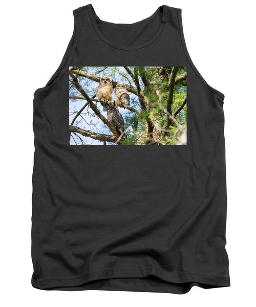 Great Horned Owl Family Tank Top