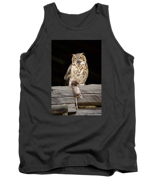 Tank Top featuring the photograph Great Horned Owl With Dinner by Tyson and Kathy Smith