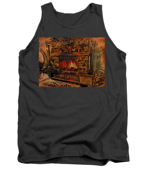 Tank Top featuring the digital art Green Dragon Hearth by Kathy Kelly