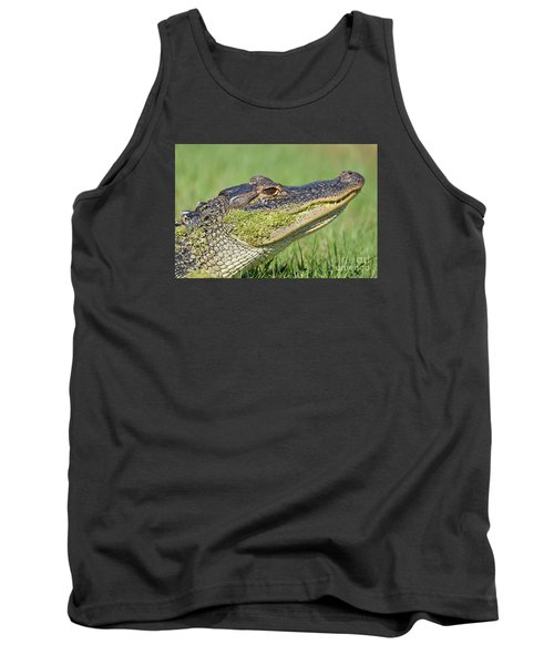 Tank Top featuring the photograph Green Grin  by Kathy Gibbons