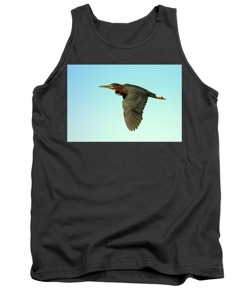 Green Heron Flight Tank Top by Myrna Bradshaw