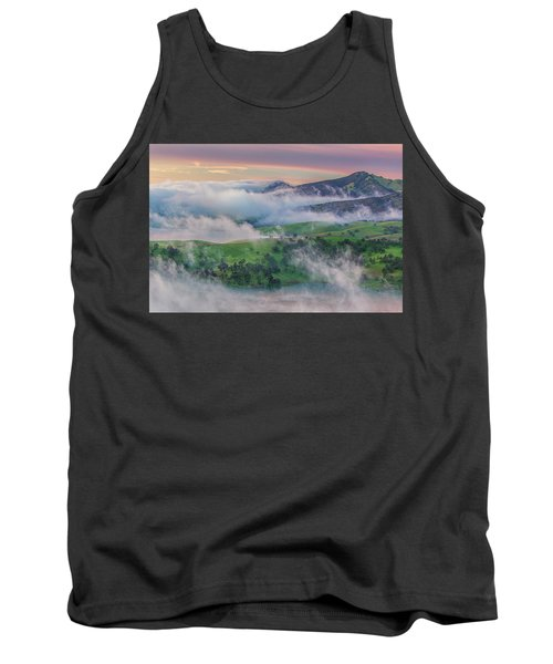 Green Hills And Fog At Sunrise Tank Top