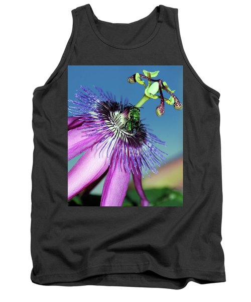 Green Hover Fly On Passion Flower Tank Top