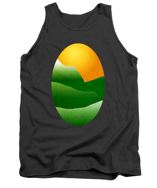 Green Mountain Sunrise Landscape Art Tank Top