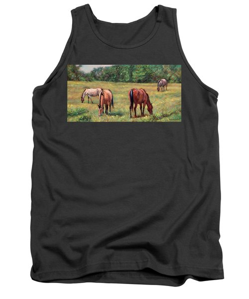 Green Pastures - Horses Grazing In A Field Tank Top