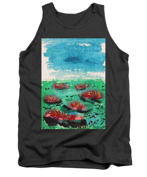 Green Pond With Many Flowers Tank Top